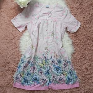Vintage Vibes Floral Butterfly House Coat Dress